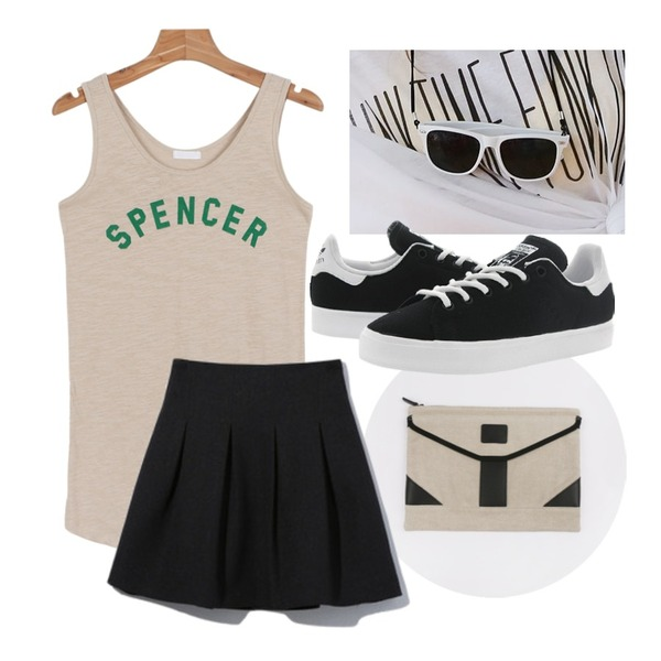 untitled,daily monday Spencer casual sleeveless,daily monday [Halbkreis]Canvas easy clutch등을 매치한 코디