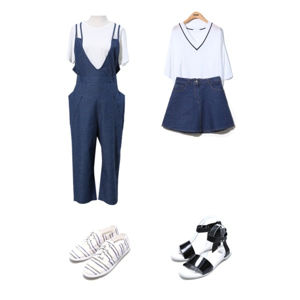 Reine Stop V-Neck Knit Tee,Reine Anna Denim A-line Skirt,Reine Ribbon Denim Jump Suit등을 매치한 코디