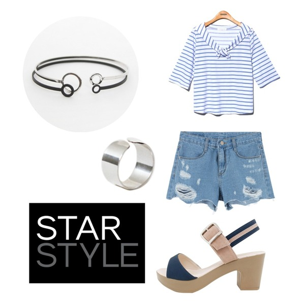 Rough & Detail comde sandal, shoes_navy,MIXXMIX 816 컷팅 데미지 숏츠,Reine Tiny Sera Stripe Tee 등을 매치한 코디