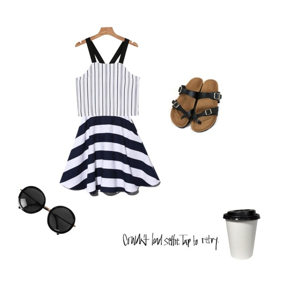 Reine Move Marine Skirt,daily monday Shoulder strap stripe bustier,Zemma World 마야리 (sandal)등을 매치한 코디