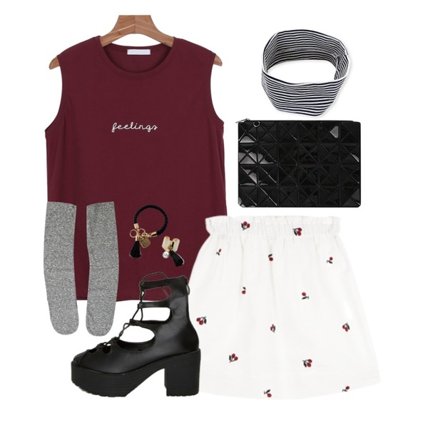 Zemma World LIFE BAND (머리띠),Rough & Detail candy loose, socks_charcoal,daily monday Spelling sleeveless등을 매치한 코디