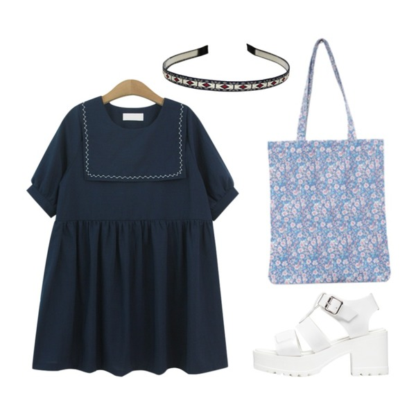 biznshoe Chunky ankle sandle (2color),Reine Dandelion Eco Bag ,TODAY ME [dress]걸리스 원피스등을 매치한 코디
