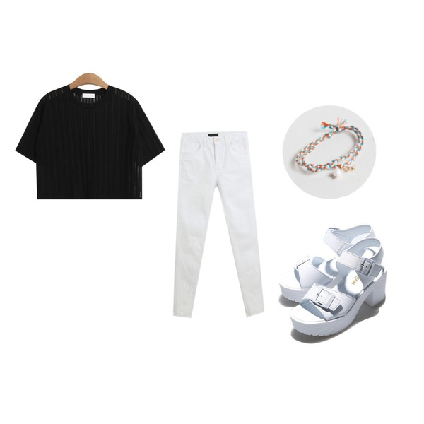 Reine Belt Buckle Heel,daily monday Pearl yarn anklets set,TODAY ME [tee]이유 티등을 매치한 코디