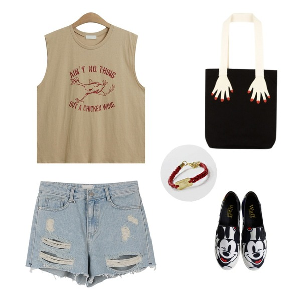 Rough & Detail large mouse slip-on, shoes_ivory,daily monday Vintage denim shorts,TODAY ME [tee]치킨윙 나시티등을 매치한 코디