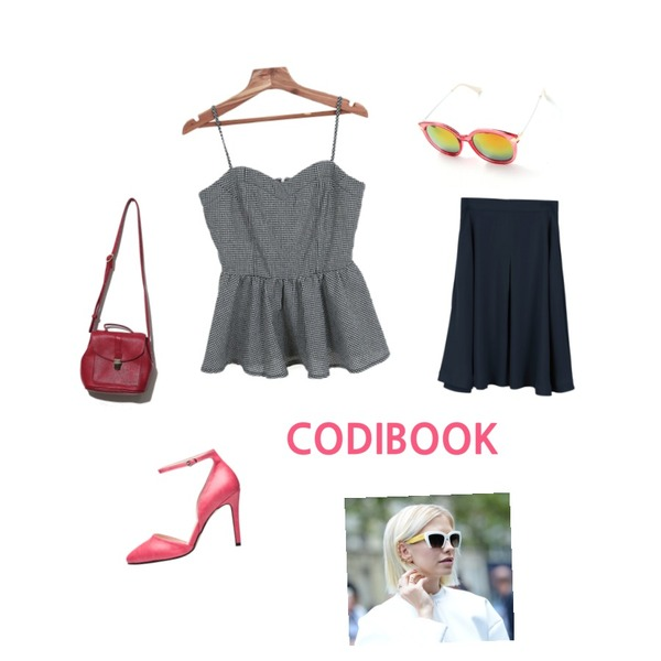 Zemma World 캣츠비 (bl),daily monday Feminine pintuck flare skirt,Reine Stay Me Sunglasses등을 매치한 코디