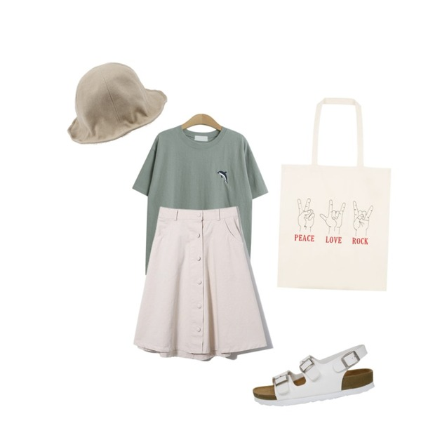 Rough & Detail jealousy sandals, shoes_white,Reine Under Button Midi Skirt,TODAY ME [tee]돌핀 티등을 매치한 코디