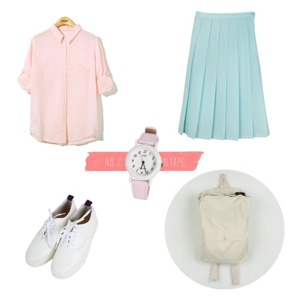 Pink Tape,Reine Blooming Sweet Blouse,daily monday Romantic pleats midi skirt등을 매치한 코디