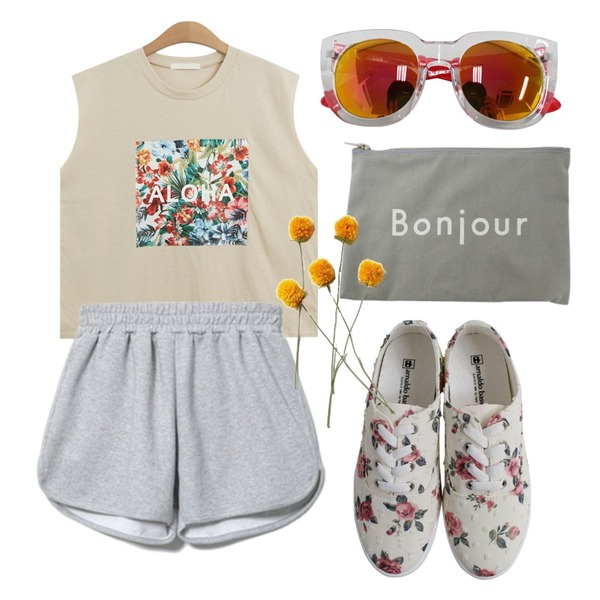 Rough & Detail popcorn flower, shoes_ivory,Reine Simpsons Casual Two-piece,TODAY ME [sleeveless]알로하 나시티등을 매치한 코디