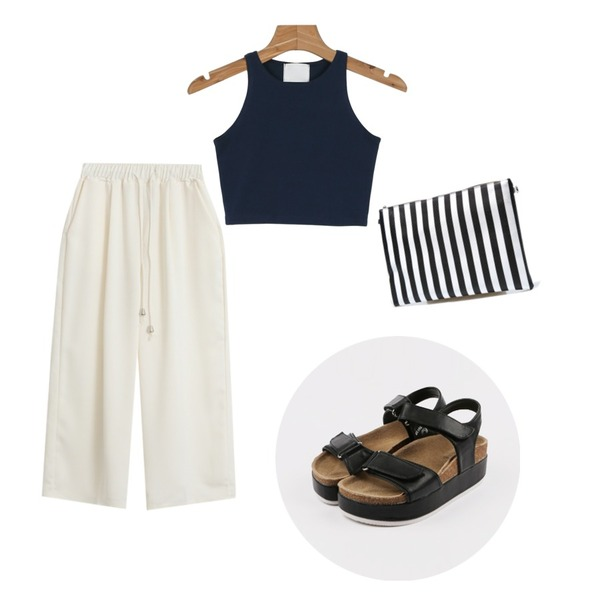 Reine Flat Clutch Bag ,TODAY ME [slacks]벨르 와이드 팬츠,daily monday Tight crop sleeveless등을 매치한 코디