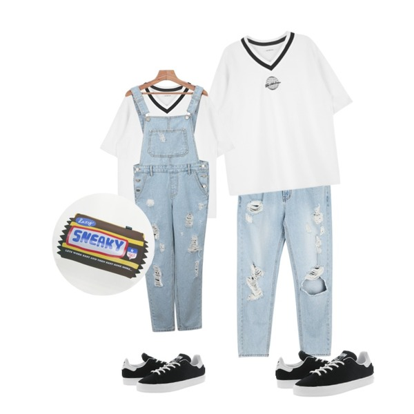 daily monday 10-length vintage denim,MIXXMIX HIDE AND SEEKWorld-class T세트 구매 할인등을 매치한 코디