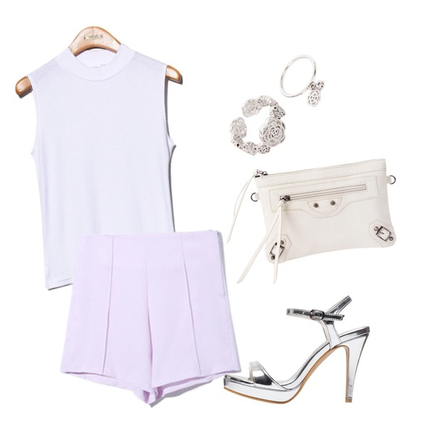 biznshoe Motor clutch & shoulder bag (6color),Reine Lilac Short Pants,Reine Tamtam Half-neck Sleeveless Tee등을 매치한 코디