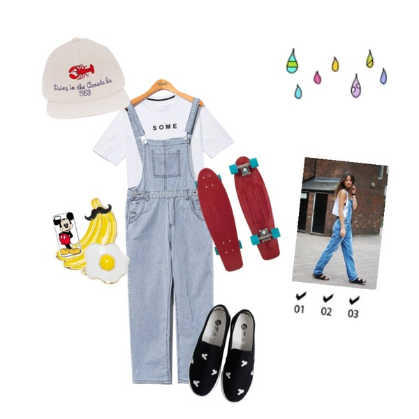 Rough & Detail mouse slip-on, shoes_black,Reine Plank Overall Pants,Reine Some Time Eternity Tee등을 매치한 코디