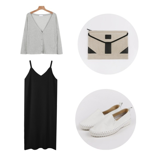 daily monday Leather quality slip-on(7월중 입고예정),biznshoe Side slit long one-piece (3color),daily monday Button loose fit cardigan등을 매치한 코디