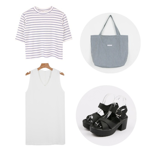 biznshoe Stripe crop tee (4color),daily monday X across strap sandals,daily monday V-neck simple ops등을 매치한 코디