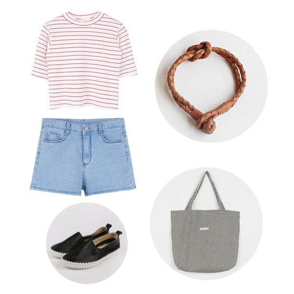 daily monday Leather quality slip-on(7월중 입고예정),biznshoe Stripe crop tee (4color),MIXXMIX 825 데님 하윈 숏츠등을 매치한 코디