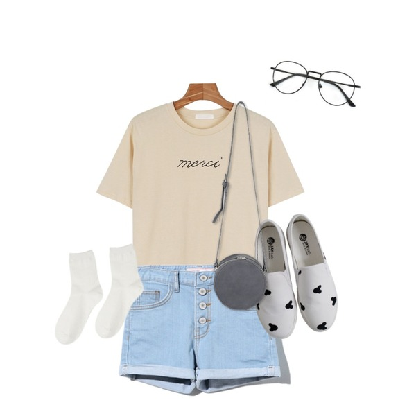 Rough & Detail mouse slip-on, shoes_white,Reine Trendy Style Shorts Pants,daily monday Merci cotton tee등을 매치한 코디