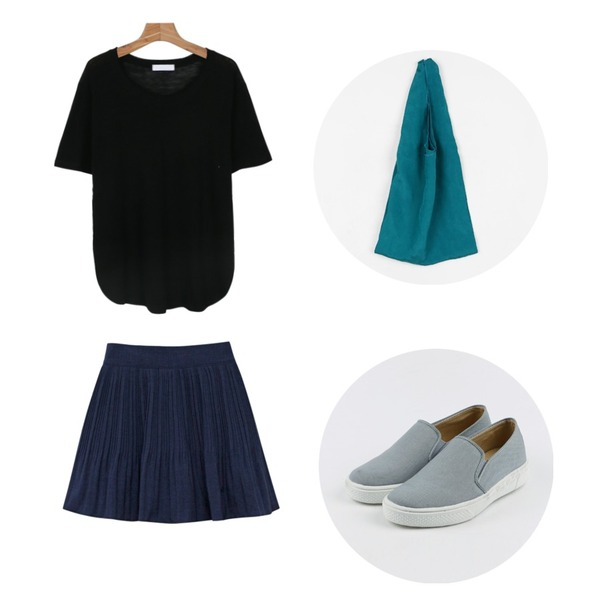 daily monday Simple cotton slip-on,Rough & Detail marid skirt, pt_navy,daily monday Linen slit cutting tee등을 매치한 코디