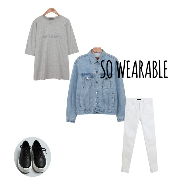 daily monday Boxy basic denim jacket,TODAY ME [skinny]마카롱 스키니진,common unique [TOP] COLOR FONT 1/2 T등을 매치한 코디