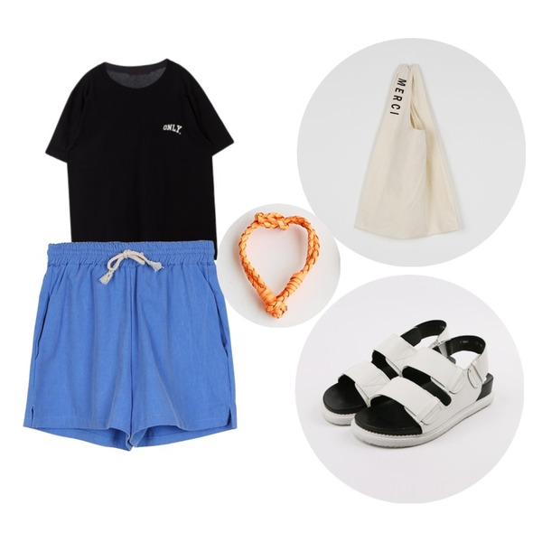 daily monday String cotton training pants,daily monday Bold strap sandals,MIXXMIX 엘더 온리 티셔츠등을 매치한 코디