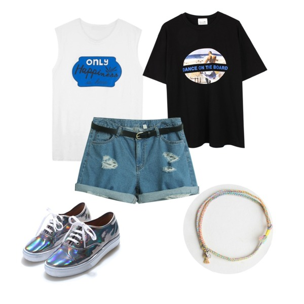 Reine Bling Hologram Sneakers,biznshoe Dance tee (2color),MIXXMIX 해피니스 레터링 슬리브리스등을 매치한 코디