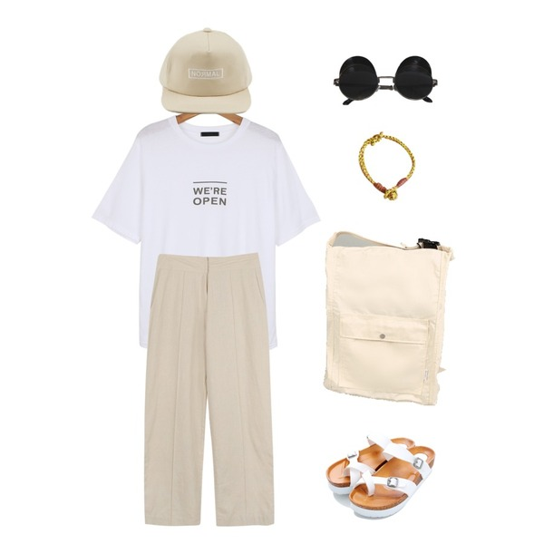 daily monday Lettering point snapback,daily monday Linen wide woman pants,daily monday Open round tee등을 매치한 코디