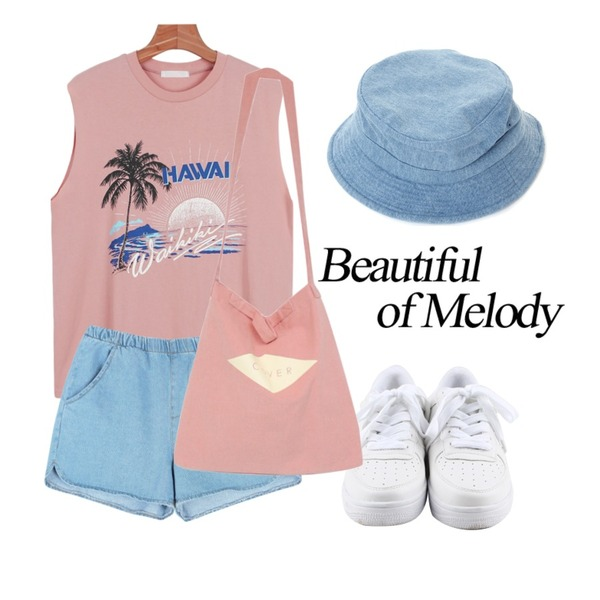 daily monday Simple white sneakers,daily monday Hawaii cutting sleeveless,common unique [BOTTOM] BANDING DENIM SHORTS등을 매치한 코디