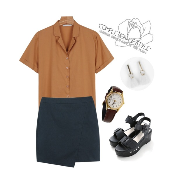 Untitled,TODAY ME [skirt]메이드 언발 스커트,daily monday Color v-neck shirts등을 매치한 코디