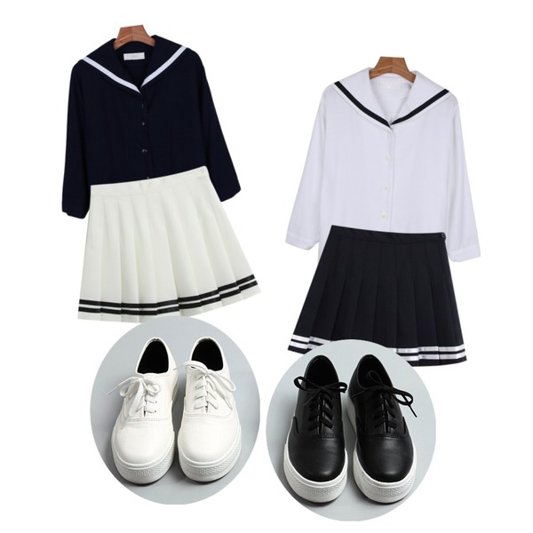 TODAY ME [skirt]치어 스커트,daily monday Open sailor top,daily monday Open sailor top등을 매치한 코디