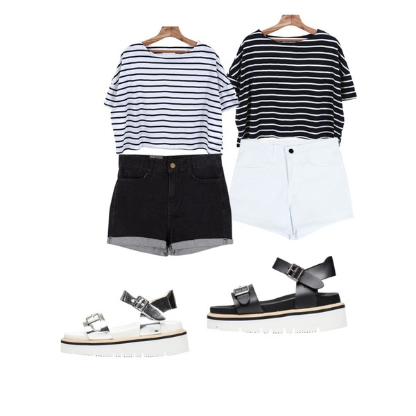 Zemma World 나인스 (stripe t),Zemma World 나인스 (stripe t),common unique [BOTTOM] KEITIN SHORTS등을 매치한 코디