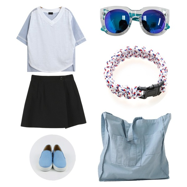 daily monday Simple cotton slip-on,common unique [BOTTOM] MONO WLAP PANTS SKIRT,TODAY ME [tee]매직 티등을 매치한 코디