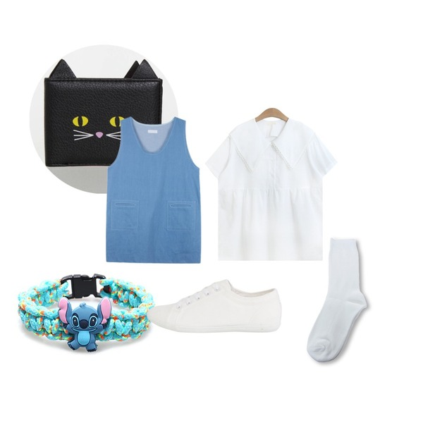 Zemma World Basic golgi color socks,MIXXMIX LAZY OAFKittycat Passcase,Reine Twisted Animation Bracelet등을 매치한 코디