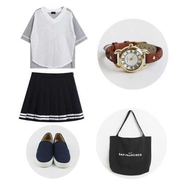 daily monday Simple cotton slip-on,TODAY ME [tee]매직 티,TODAY ME [skirt]치어 스커트등을 매치한 코디