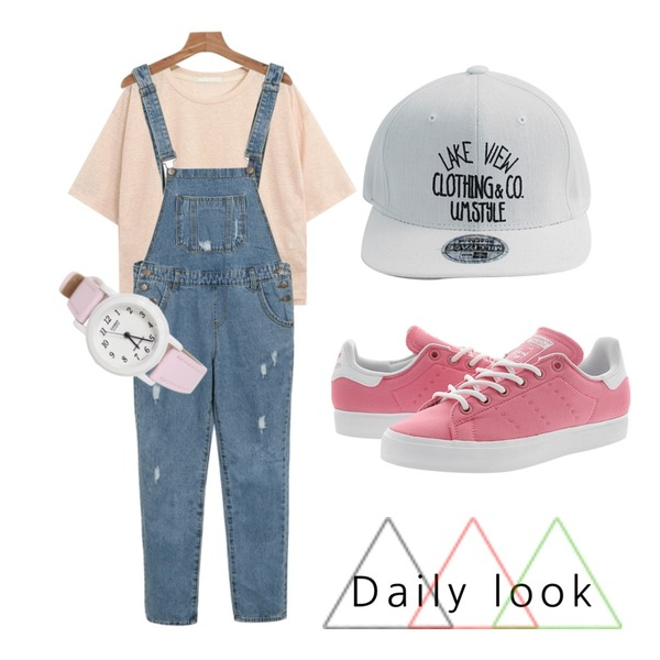 daily monday Casual denim overall,TODAY ME 베이킹 모자,TODAY ME [tee]해이드 티등을 매치한 코디