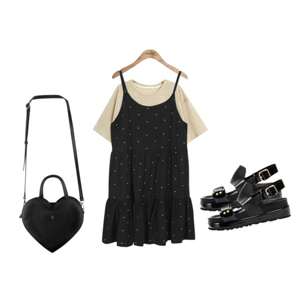 MIXXMIX MXM15SSHeart key bag (black),common unique [OPS] SHIRRING DOT OPS,TODAY ME [tee]해이드 티등을 매치한 코디