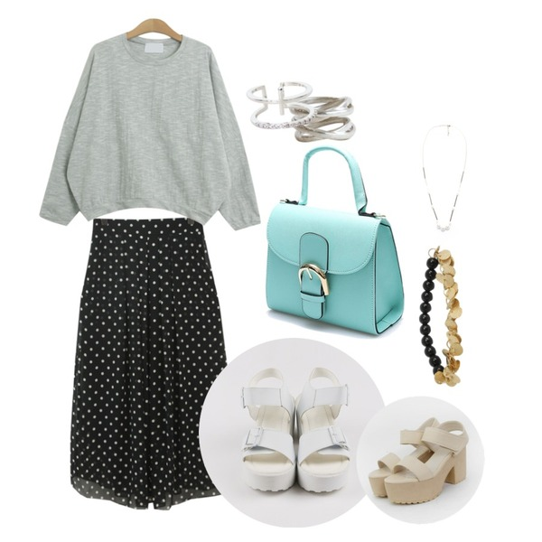 daily monday Silver layered bold ring(silver 925),TODAY ME [skirt]티 도트 스커트,TODAY ME [tee]레이닝 티등을 매치한 코디
