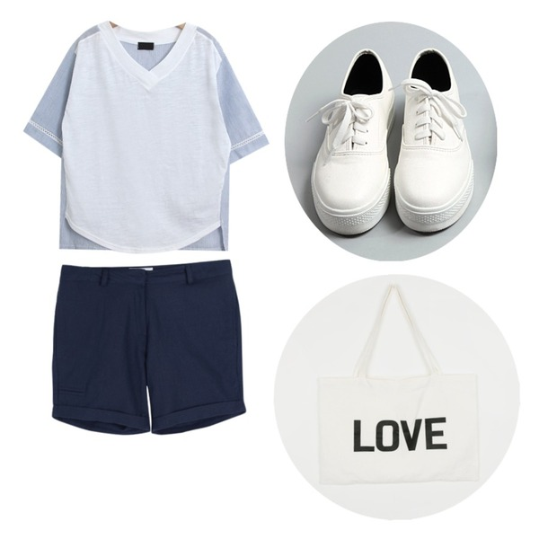 common unique [SHOES] SKIN SHOES,TODAY ME [tee]매직 티,common unique [BOTTOM] EMBO ROLL UP SHORTS등을 매치한 코디
