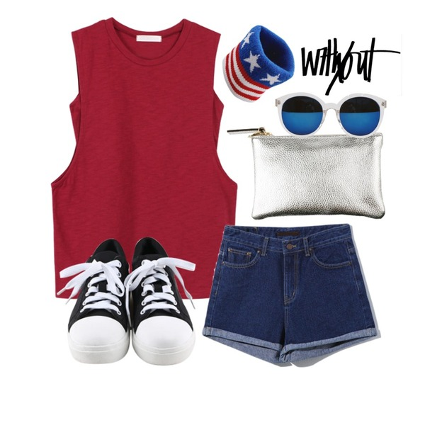 daily monday Round comfortable sneakers,biznshoe Double sleeveless (4color),Reine Twins Roll-up Denim Shorts등을 매치한 코디