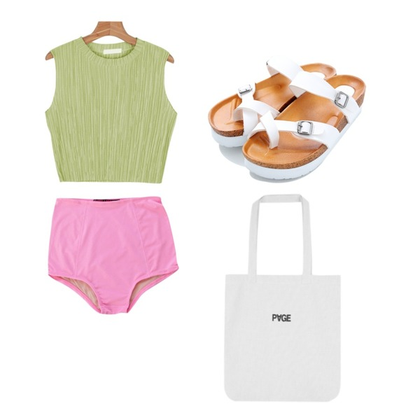 Reine Easy Belted Slippers ,common unique [SWIMSUIT] RASHGUARD HIGH PANTS,daily monday Shining pleats top등을 매치한 코디