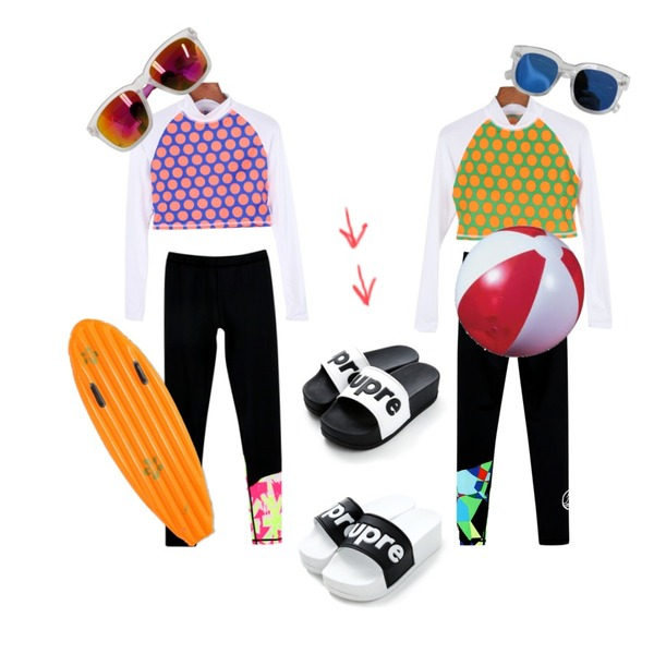 daily monday Dot rashguard,daily monday Dot rashguard,daily monday [RALUBIL]Point water leggings등을 매치한 코디