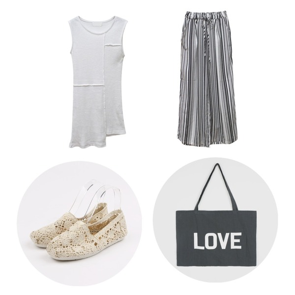 daily monday feminine lace slip-on,Rough & Detail diba stripe slacks, pt_white,Rough & Detail bloom sleeveless, t_ivory등을 매치한 코디