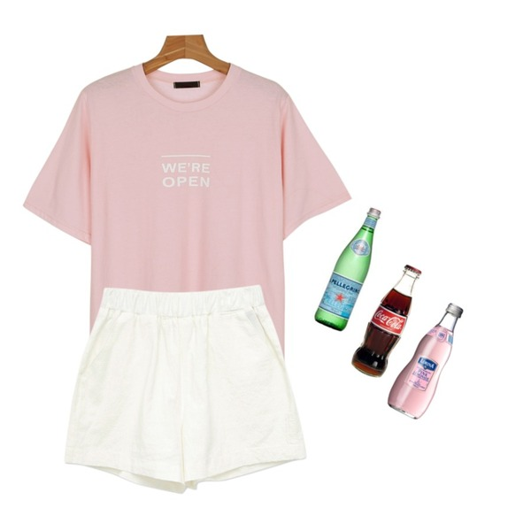 Pink Lemonade,daily monday Open round tee,common unique [BOTTOM] DAILY LINEN SHORTS등을 매치한 코디