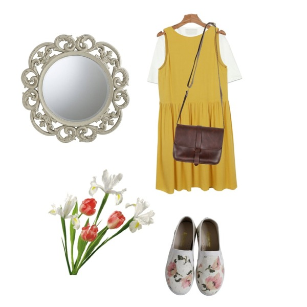 Rough & Detail flower slip-on, shoes_ivory,daily monday Double-faced onepiece,common unique [TOP] POCKET SLAB 1/2 T등을 매치한 코디