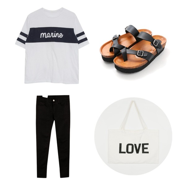 MIND ME 마린 투스트랩 T-shirts (2color),Reine Easy Belted Slippers ,common unique [BOTTOM] 9-ALRIGHT SKINNY등을 매치한 코디
