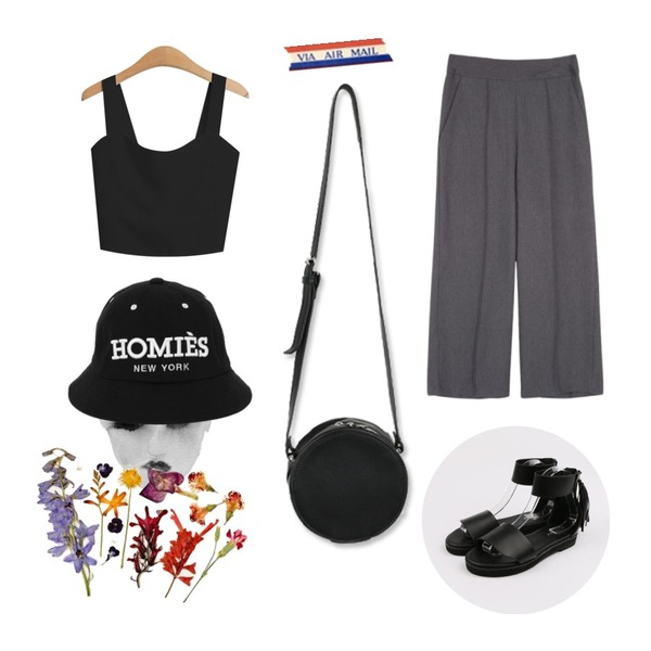 daily monday Simple tassel sandals,TODAY ME [sleeveless]프라이 나시,common unique [BOTTOM] HIGH WAIST WIDE SLACKS등을 매치한 코디