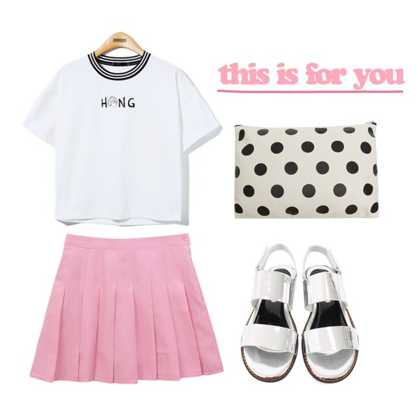 Reine Hong Sister Tee,Rough & Detail twins sandal, shoes_silver,common unique [BOTTOM] PLEATS PANTS SKIRT등을 매치한 코디