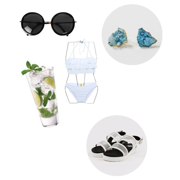 biznshoe Round frame sunglass ,Reine First Lady Frill Bikini,daily monday Mesh simple sandals등을 매치한 코디