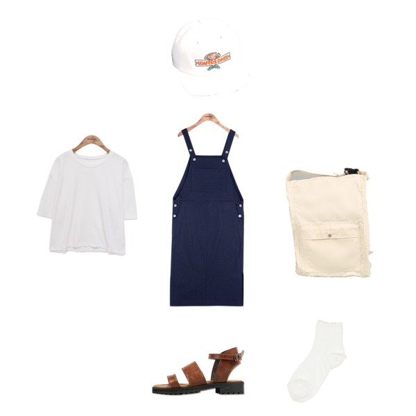 common unique [ACC] LOAFER CAP,common unique [OPS] SIDE SLIT OVERALL OPS,common unique [BAG] TWO-WAY BACKPACK등을 매치한 코디