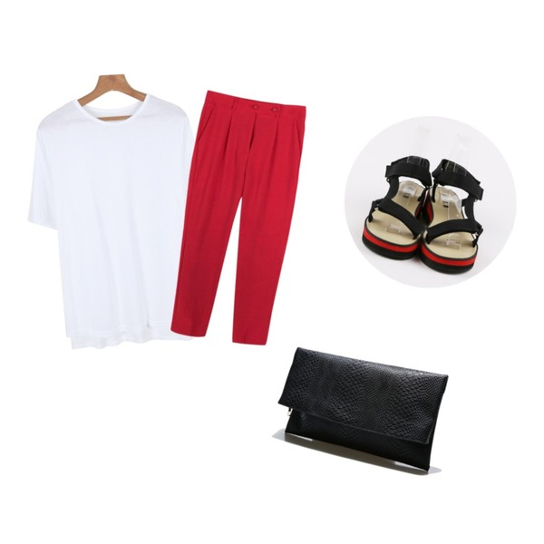 daily monday Velcro strap line sandals,daily monday Daily silky round tee(8colors),common unique [BOTTOM] TWO-BUTTON SLACKS등을 매치한 코디