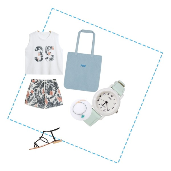 Untitled,Rough & Detail Casio macaroon, watch_mint,TODAY ME [SET]아르엔 SET등을 매치한 코디