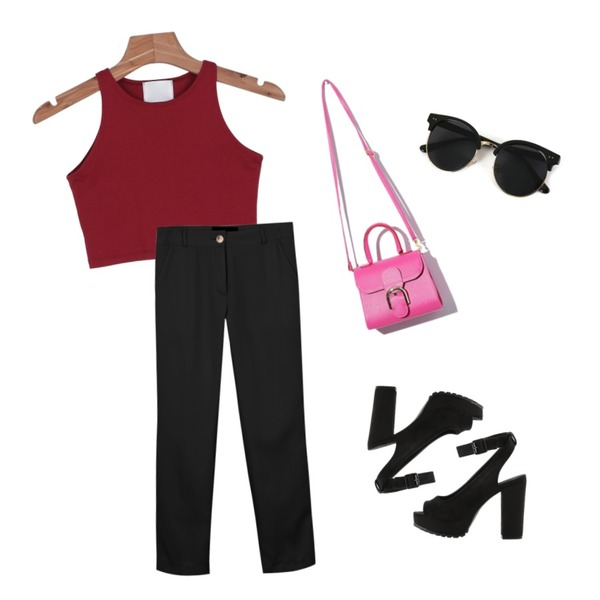 daily monday Another classy slim slacks,biznshoe Open-toe strap heel (2color),daily monday Tight crop sleeveless등을 매치한 코디